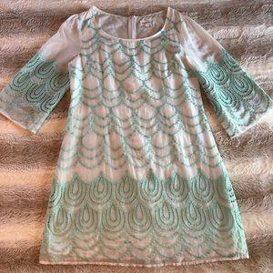 Anthropologie Meadow Rue Silk & Cotton Mint Dress